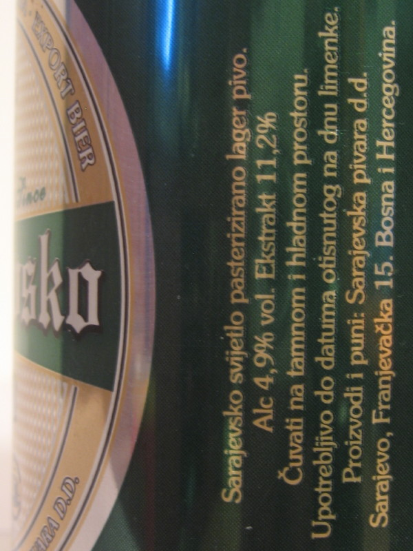 BOSNIA AND HERCEGOVINA Sarajevo beer (Al can) (B/O) (33cl) side 2