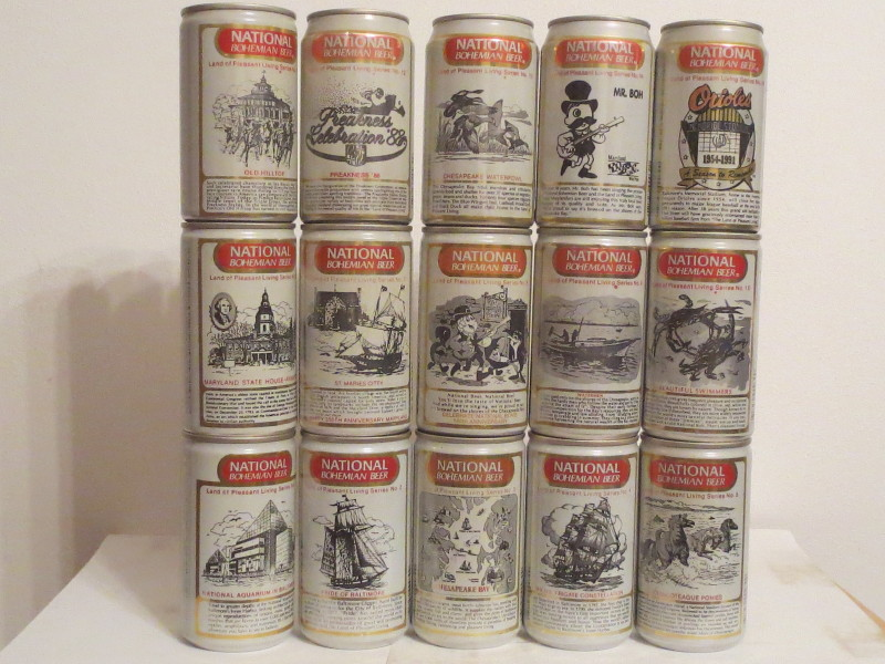 NATIONAL BOHEMIAN BEER 15 cans set from USA (35cl)