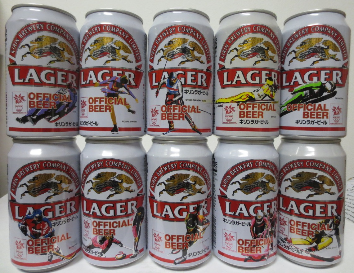 KIRIN LAGER 10 cans OLYMPIC set from JAPAN (35cl)
